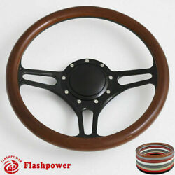 14and039and039 Billet Steering Wheels Wood Color Street Rod Comet Gm Ford Marquis Monterey