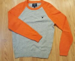 American Eagle Youth Collarless Pullover Sweater - Grey Orange M