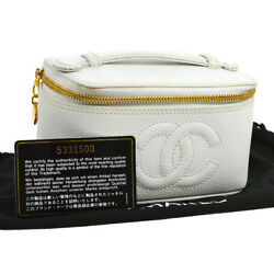 Auth CHANEL CC Cosmetic Vanity Hand Bag Pouch White Caviar Leather VTG 809776
