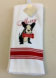 Boston Terrier Holiday Dishhand Towels