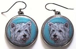West Highland Terrier Westie Original Art Earrings