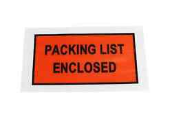 Packing List Enclosed 5.5 X 10 Full Face Shipping Envelopes 52000 Pouches