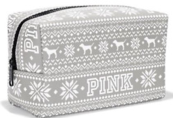 Victorias Secret LOVE PINK DOG  GRAPHIC Makeup Cosmetic Bag Faux Leather NWT
