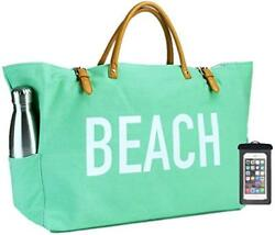 (New) PACO Large Canvas Beach Bag Travel Tote (Seafoam Green) Waterproof Lining