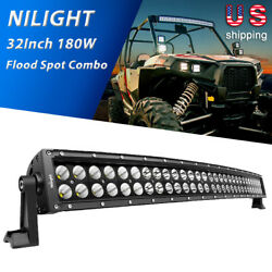 Nilight 32 Inch 180w Curved Led Light Bar Combo Fog Lights For Suv Boat 4x4 Lamp