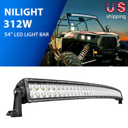 Nilight 54inch 312w Curved Combo Led Light Bar Off Road Fit For Atv Suv 4x4 Boat