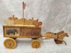 Vintage Antique Reed Co. Wood Toy Menagerie Circus Wagon 1880and039s