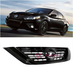 Glossy Black Front Bumper Upper Grille For 16-up Nissan Altima Sedan Airflow