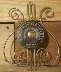 Art Deco 1930s Music Note Metal Thermometer Sign Oil Phillips 66 Station Works