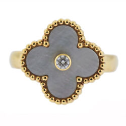 And Vintage Mother Of Pearl Diamond Gold Ring
