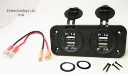 Double Usb 4.2 Amp Chargers Panel Plug Jack Mount Marine 12v Outlet With Wires.