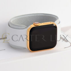 44mm Apple Watch Series 6 Stainless Steel Custom 24k Gold Plated White Sport
