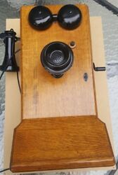 Antique Vintage Oak Wood Wall Crank Telephone From Canadian Pacific Railway Cpr