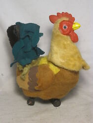 As-is Vintage Louis Marx Toys Chicken Rooster Japan Toy Tin Felt Farm Animal