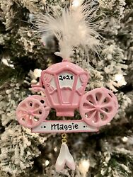 NAME PERSONALIZED Girls Fairy Tale Disney Princess Carriage Christmas Ornament $14.95