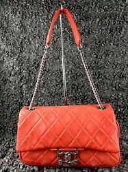 Rare! AUTHENTIC Chanel Coral Red Secret Label Collection Lambskin Classic Flap