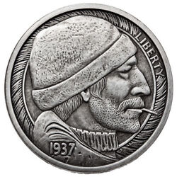 Antique Fisherman Silver Round - Hobo Nickel Series #1 - 1 oz .999 Antiqued Coin