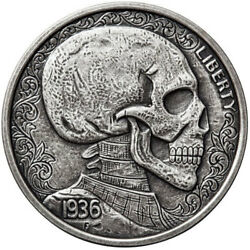 Skulls and Scrolls Silver Round Hobo Nickel Series #3 - 1 oz .999 Antiqued Coin