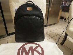 $348 NWT Michael Kors ABBEY Leather Backpack Large Black w Cover MK Designer Bag