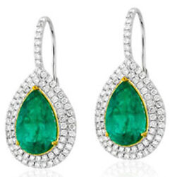 2.11ct Natural Diamond 14k White Gold Emerald Snap Closure Hoops Earring