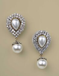 1.82ctw Natural Diamond Pearl 14k Solid White Gold Screw Back Earring