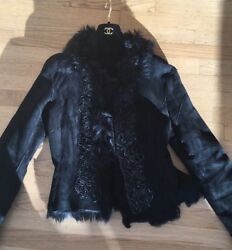 Roberto Cavalli Black Shearling Long Jacket With Detailing Must See