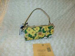 Dooney Bourke Coated Cotton Pansy Floral  Barrel Bag NEW yellow summer garden