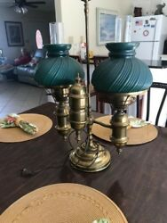 antique lamps brass electric beautiful dark green shades. Over 100 years old.