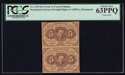 Us 5c Fractional Currency Pair 1st Issue W/abc Fr 1230 Pcgs 63 Ppq Ch Cu 001