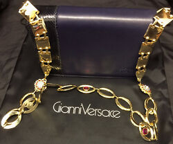 Gianni Versace 80s leather clutch cross body shoulder Jewels Metal strap bag