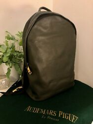 Audemars Piguet Designer Green Leather Backpack VERY RARE VIP ITEM