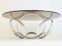 Coffee Table Round The Rings Chrome 1970 Space Age Vintage 70s 70and039s Pop