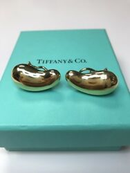Authentic And Co. Elsa Peretti Large Bean Earrings 18k Yellow Gold