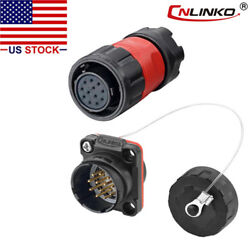 12 Pin Power Signal Connector Female Plug And Male Socket Waterproof Outdoor Ip67