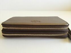 Coach MT Leather iPhone 66s Case Double Zip Wallet Dark Gold 62584 NWT