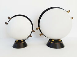 Pair Of Lamps Home Arlus Steel Brass Glass 1950 Vintage 50s 50and039s Years 50