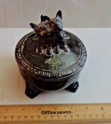 Vintage Moslah Patrol 1934 Scottie Dog JarHumidor Cast Aluminum Top
