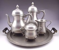 Vintage Boardman Colonial Pewter Five Piece Footed Coffee And Tea Set