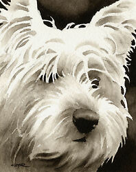 West Highland Terrier Art Print Sepia Watercolor Painting by Artist DJR