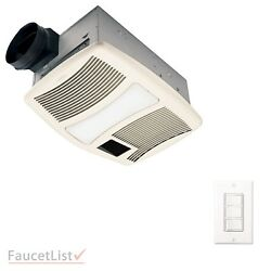 NuTone QTXN110HFLT Exhaust Fan with Heater and Light & 4-Function Wall Control