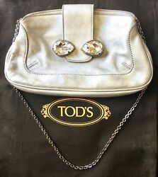 Tod's Evening Bag Vintage Silver Leather with Crystal-Embellishment