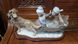 Lladro 5037 Retired Figurine Sleigh With Children And Sled Dog