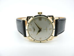 Longines 1950and039s Piece 14k Yellow Gold Black Leather Stap