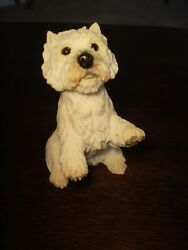 WEST HIGHLAND WHITE WESTIE TERRIER DOG FIGURINE RESIN SITTING UP REALISTIC EYES