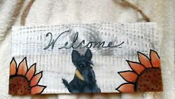 Scottish Terrier  hand painted Scottie dog  Welcome sign with Sunflowers