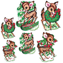 6 Vintage Reproduction Christmas Reindeer Cutouts Beistle Party Wall Decorations