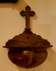 Angel Holy Water Fontc.1900s Wall Mount/heavy/iron/age Appropriate