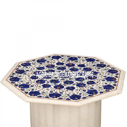 Marble Top Table With Stand Lapis Floral Semi Precious Inlaid Home Decor H3546