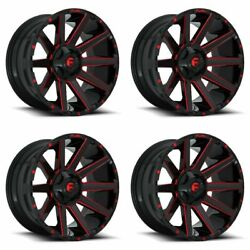 Set 4 20 Fuel Contra D643 Black Milled Candy Red Truck Wheels 20x10 8x6.5 -18mm
