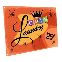 Orange Coin Laundry Metal Sign Wall Decor For Bath Or Laundry